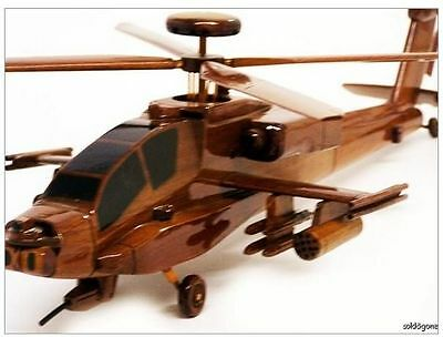 Sale ! Ah-64 Ah-64D Apache Longbow Army Attack Helicopter Wooden Mahogany Model