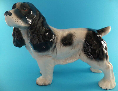 Vintage Melba Ware Spaniel Ceramic Figure Large Black And White Dog