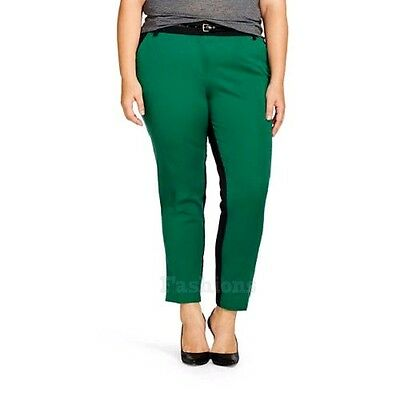 9f2e74cb140 Womens Ava Viv Colorblock Green and Black Plus Size Ankle Pants NWOT A123