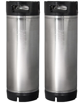 Set of 2 - Kegco 5 Gallon Home Brew Ball Lock Keg Rubber Handle Beer Soda