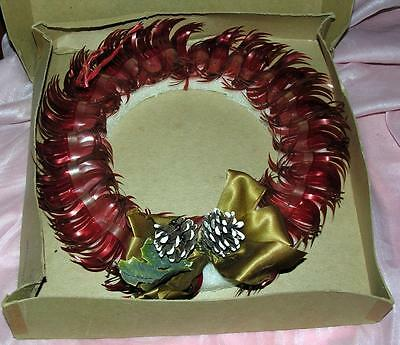 "Vtg 1960's Styrofoam W Cellophane 10"" Xmas Wreath - Pinecones & Bow, Iob"