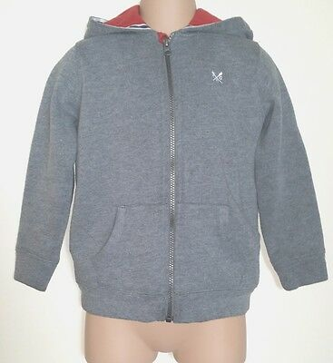 Crew Clothing Co Cotton Rich Grey Zip Top Jacket Hoodie, 6, Fit Approx 6-8 Yrs