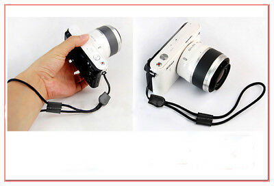 Black Camera Nylon Hand Wrist strap with Leather For Nikon Canon Sony Samsung