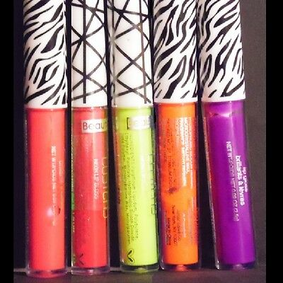 Set of 5 UV Reactive Neon Lip Glosses