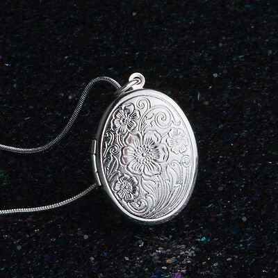 925 Sterling Silver Plated Rose Round Locket Necklace Box Snake Chain Jewelry**