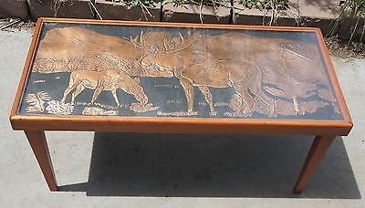 Vintage MiD Century Copper Insert Acrylic Wood Table Craftsmen Moose Scene