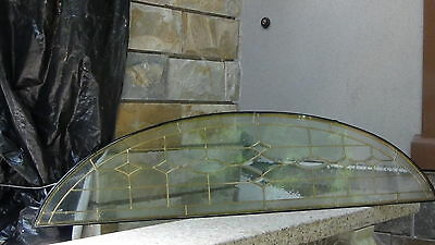 "Beveled  Leaded Glass  Brass Gold Or Silver Patina  Arch 63""l Window Transom"