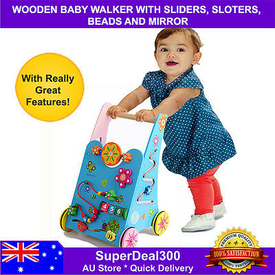 Wooden Baby Kids Walker, Activity Centre, with Fantastic Features
