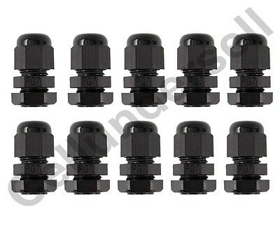 10 Pieces PG7 Black Plastic Waterproof Connector Gland 3-6.5mm Dia Cable