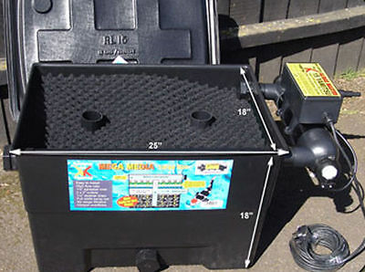Mega Large Black Box Pond / Koi Pool Filter - With 15W UV & 40W Pump | Full Kit