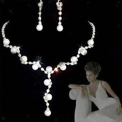 Bridal Wedding Party Evening Diamante Pearl Necklace Earrings Jewelry Set