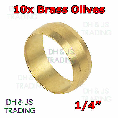 10x Brass Compression Olives 1/4 - Plumbing Barrel Olive Pipe Fitting Imperial