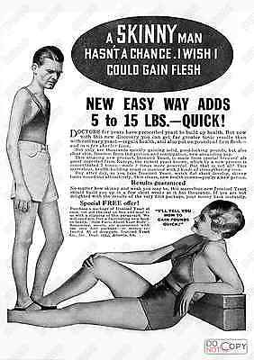 skinny: Reproduction Newspaper Body building advert, poster, Wall art.
