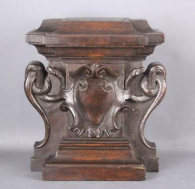 Antique Architectural Fragment figural carved wood pediment