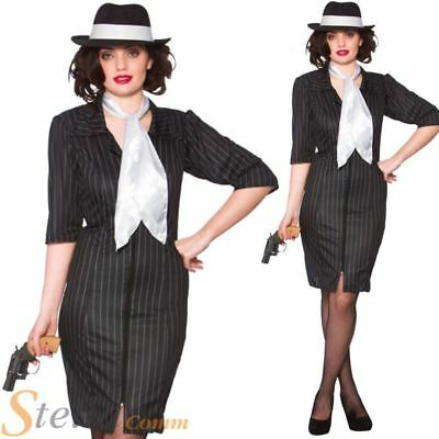 Ladies Gangster Gal 1920s 30s Moll Costume Pinstripe Womens Fancy Dress Outfit