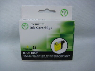 Premium Compatible Yellow Ink Cartridge Brother Printer Mfcj470Dw Lc103Y Sale