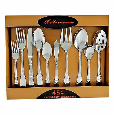 Bella Cuccina Soft Shine Stainless 45 Piece Flatware Set Service for 8 BC 1043