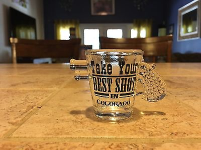 "Vintage ""Take Your Best Shot"" In Colorado GUN Pistol Shot Glass"