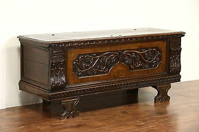 Italian 1700 Antique Cassone Dowry Chest Wedding Trunk, Grape Motif, TV Console