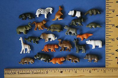 Set of MINIATURE tiny plastic toy craft ZOO animals ~ LOT 24 animal wild panda