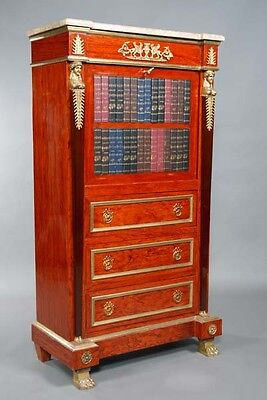 L-Gm-81 Secretary Writing furniture Bureau Empire style with marble top