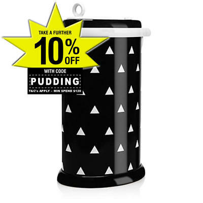 New Ubbi Nappy Diaper Pail Bin Eco Friendly - Black Triangles Colour Ltd Edition