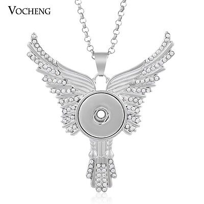 10PCS/Lot Wing Pendant Necklace Snap Jewelry Stainless Steel Chain NN-326*10