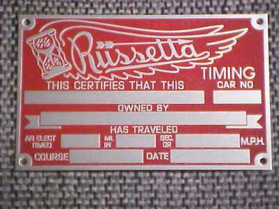Russetta Timing Speed Data Plate Acid Etched Aluminum 1940 -1980