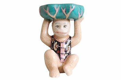 """Chinese Cute Yellow Porcelain Monkey in Suit Soap Tray 8"""""""