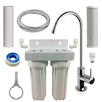2 Stage Carbon Water Filter 0.5 Mic Under Bench Sink Counter Housing Kit + Tap