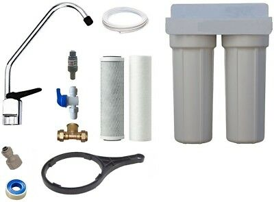 Twin Undersink Water Filtration Kit / Carbon Pure Water Systems Filter Kit + Tap