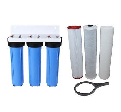 "Triple Whole House Water Filter System | 5 Micron Carbon & Sediment 10"" x 2.5"""