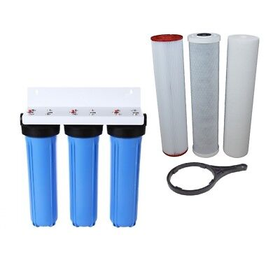 Whole House Water Filter System 3 Stage | 5 Micron Carbon & Sediment 20' x 4.5'