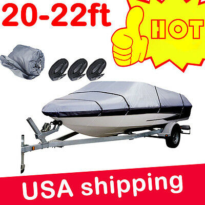 20-22ft Heavy Duty Speedboat Boat Cover Grey Waterproof Match Fish-Ski V-Hull