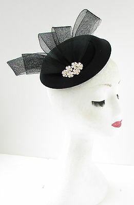 Black White Gold Pillbox Hat Fascinator Headpiece Races Vintage Hair Clip B94