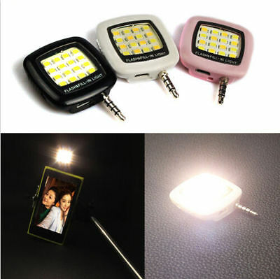 16 LED 3.5mm Camera Selfie Smart Fill Light For IOS Android iPhone 5s 6 Plus