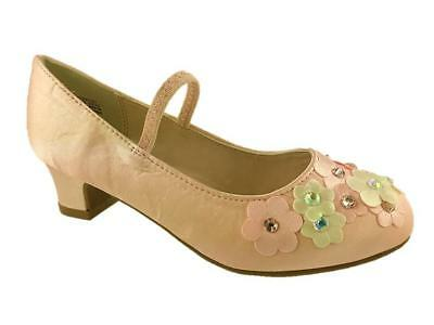 Girls Infants Monsoon Dance Shoe Pink  Flower Detail Low Heel Size 7-4