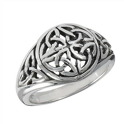 Sterling Silver Celtic Knot Ring with Trinity Knots Irish Triquetras