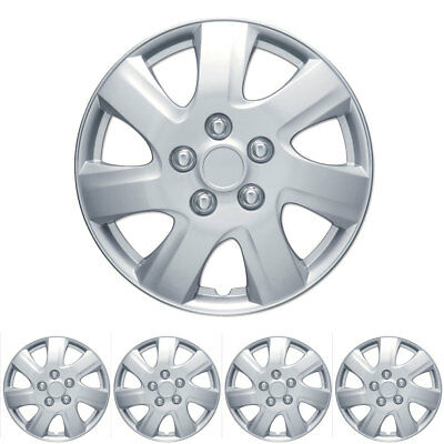 """4 PC Set 16"""" Silver Hubcaps Wheel Cover OEM Replacement High Quality ABS"""