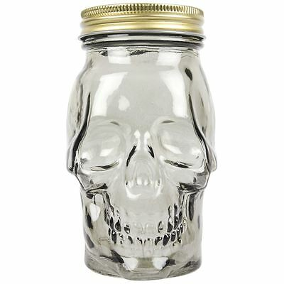 Skull Mason Style Drinking Jar with Lid and Straw Novelty - Drinks - Party