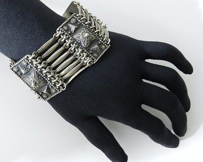 Vintage Mexico Sterling Silver Wide Link Statement Bracelet