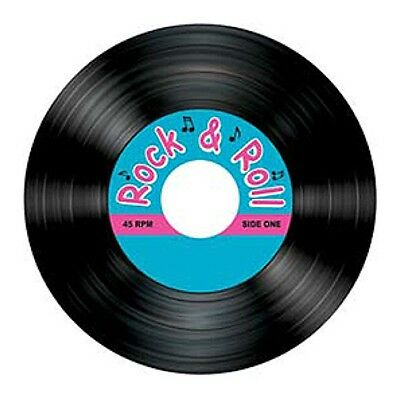50S Rock & Roll Party Coasters Record Shaped Decoration!
