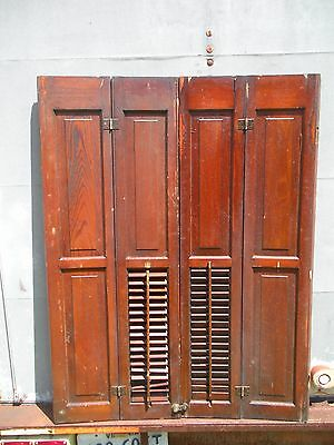 "Antique / Vintage Solid Oak Raised Panel Shutters 33"" w by 43.5"" tall"