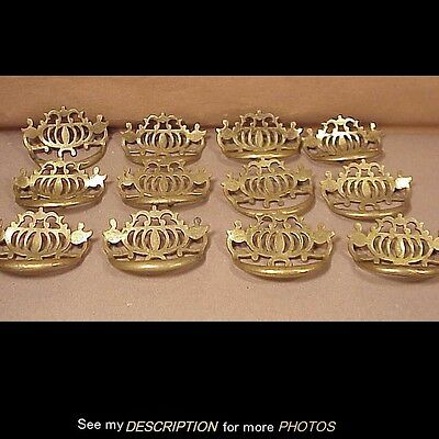 Antique Set 12 Matching Cast Brass Drawer / Bin Pulls / Handles