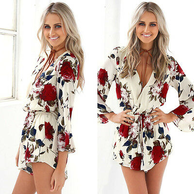 Women Ladies Summer Jumpsuit Long Sleeve V-Neck Playsuit Party Romper Trousers