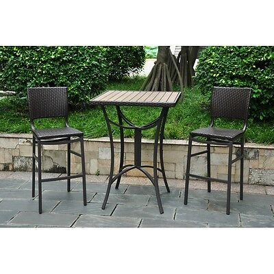 International Caravan Barcelona Set of 3 Resin Wicker Bar Bistro Set, Chocolate