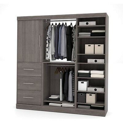Nebula By Bestar 80'' Storage Kit In Bark Gray 25850-47 New