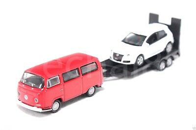 Welly 1:87 Die Cast Volkswagen Off-Roader Trailer VW T2 Golf GTI Car Red White