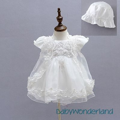 Baby Girls 3PCS Set Christening Gown Baptism Gown Lace Dresses Outfit Size 0-2Y