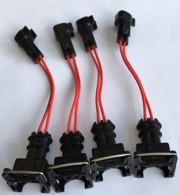 EV1 Jetronic Female to EV6 USCAR Male Fuel Injector Wired Adapter  * 4 PACK *